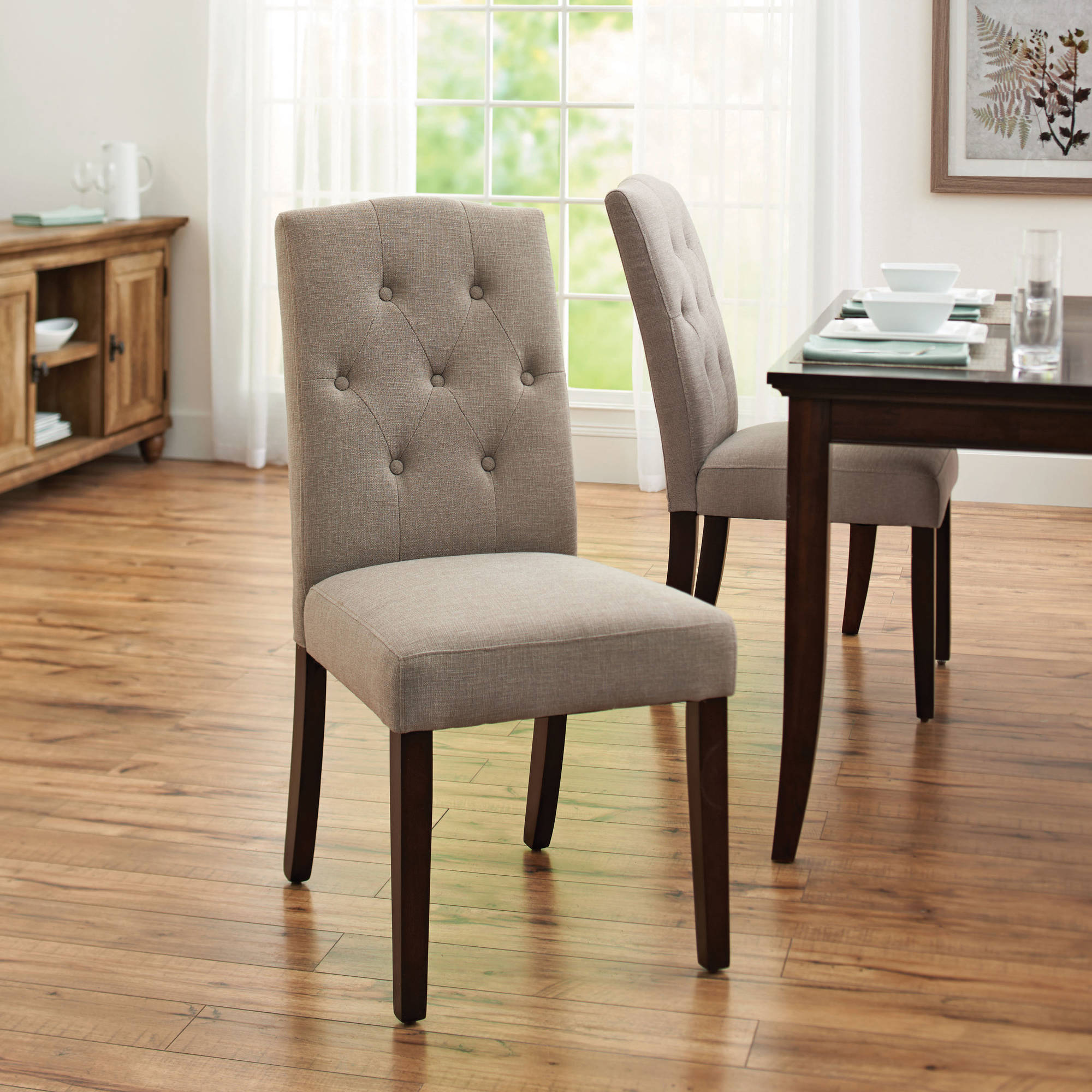 Dining Room Grey Wingback Chair Patterned Living Room