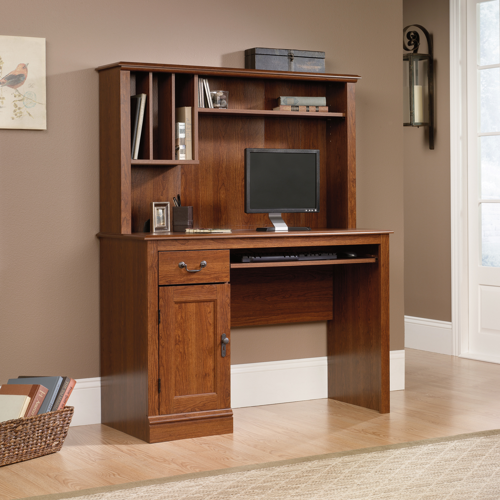 Black Corner Desk with Hutch | Sauder Computer Desks | Sauder L Shaped Desk