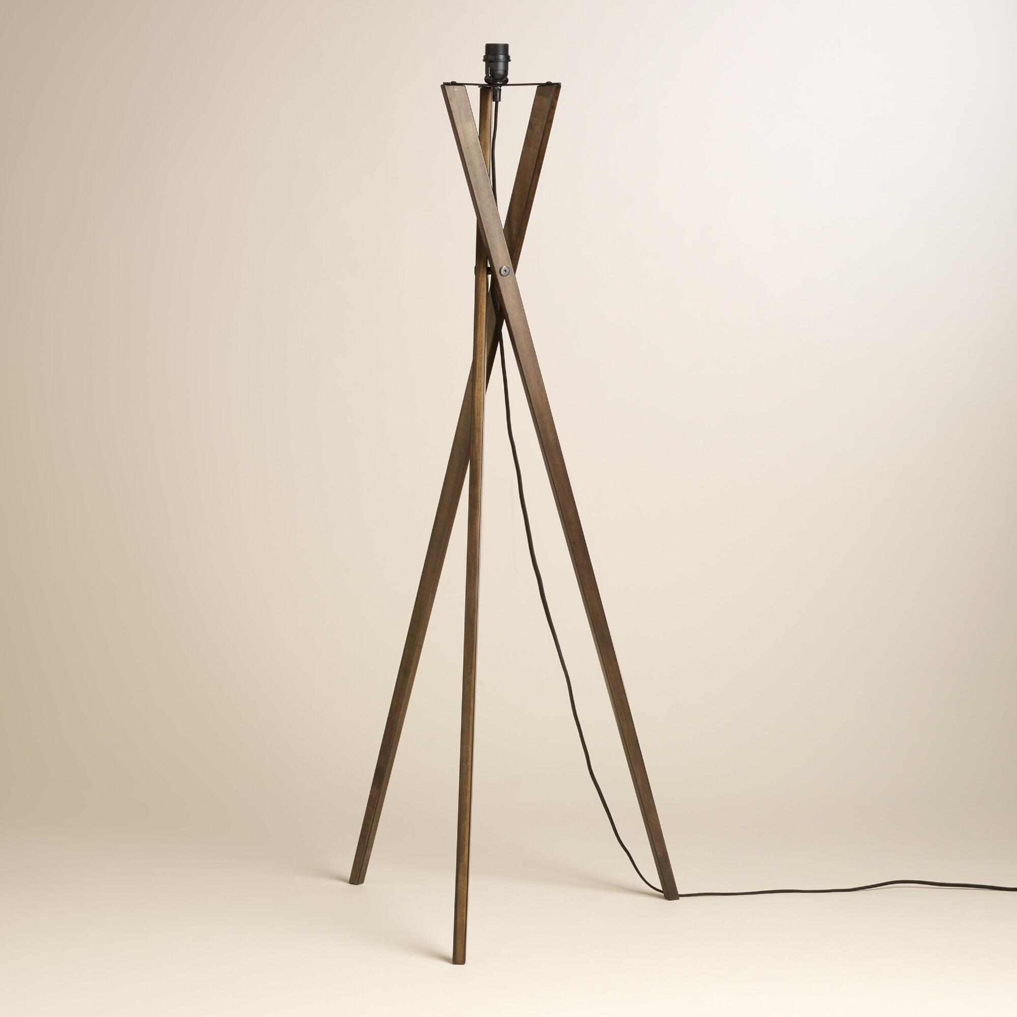 wooden floor lamp tripod pin dark black wood lighting shade tesco