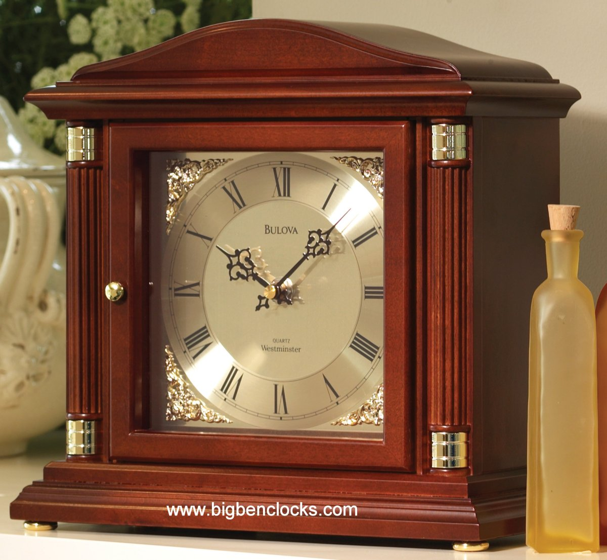 Bulova Mantel Clock | Mantleclocks | Bulova Holyoke Quartz Desk Clock