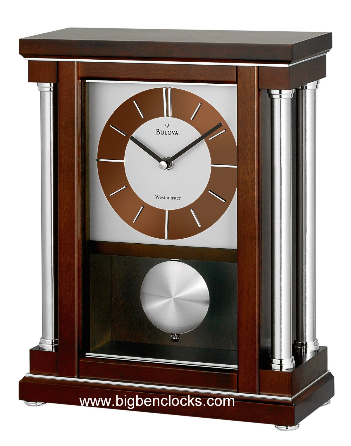 Bulova Mantel Clock | Silver Clocks Mantel | Bulova Wall Clocks Sale