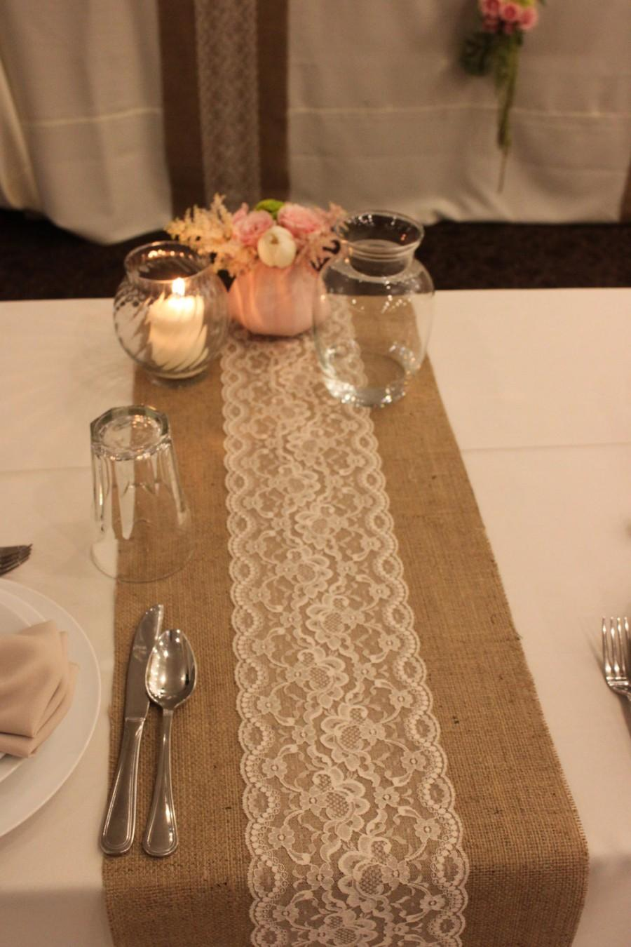 Burlap and Lace Table Runner | Lace Table Runners | Gold Runners for Tables