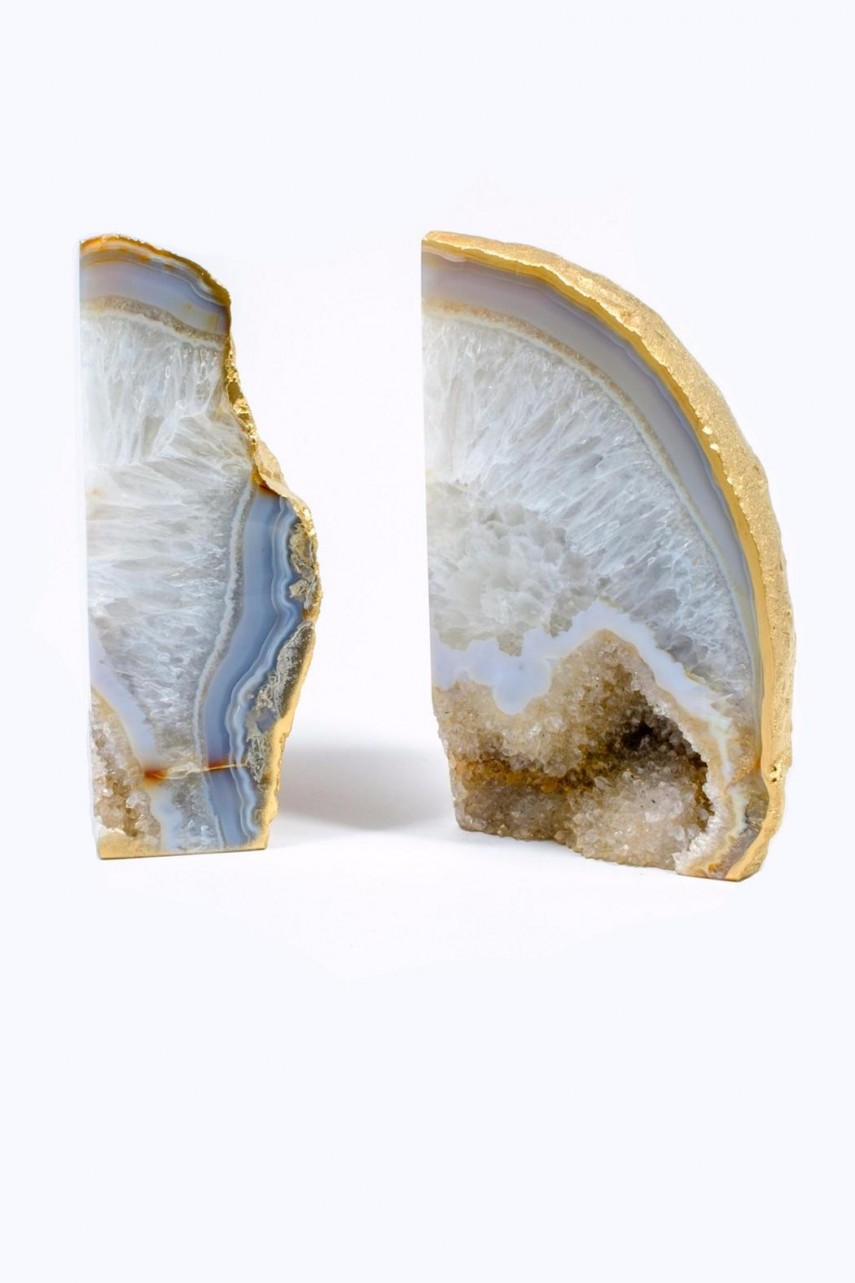 Charming Agate Book Ends | Enjoyable Geode Bookends