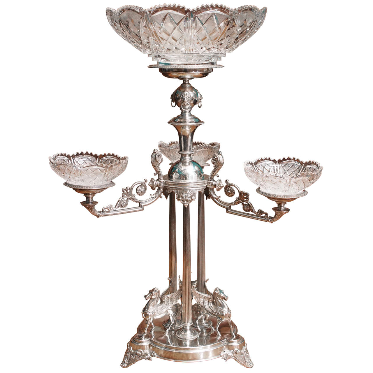 Using Antique Epergne for Dining Table Accessories Ideas: Chic Epergne | Charming Glass Epergne Inspirations