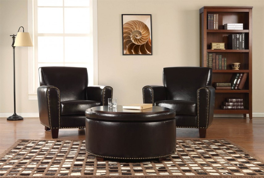 Circle Ottoman With Storage | Tufted Round Ottoman | Round Storage Ottoman