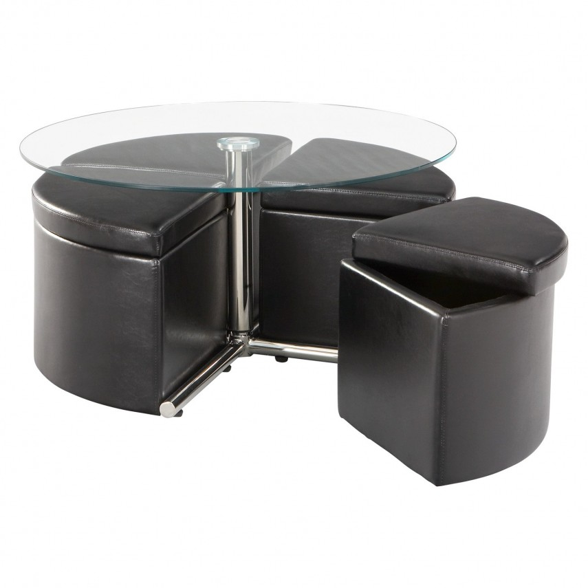 Cocktail Ottoman With Shelf | Large Square Ottoman Tray | Round Storage Ottoman