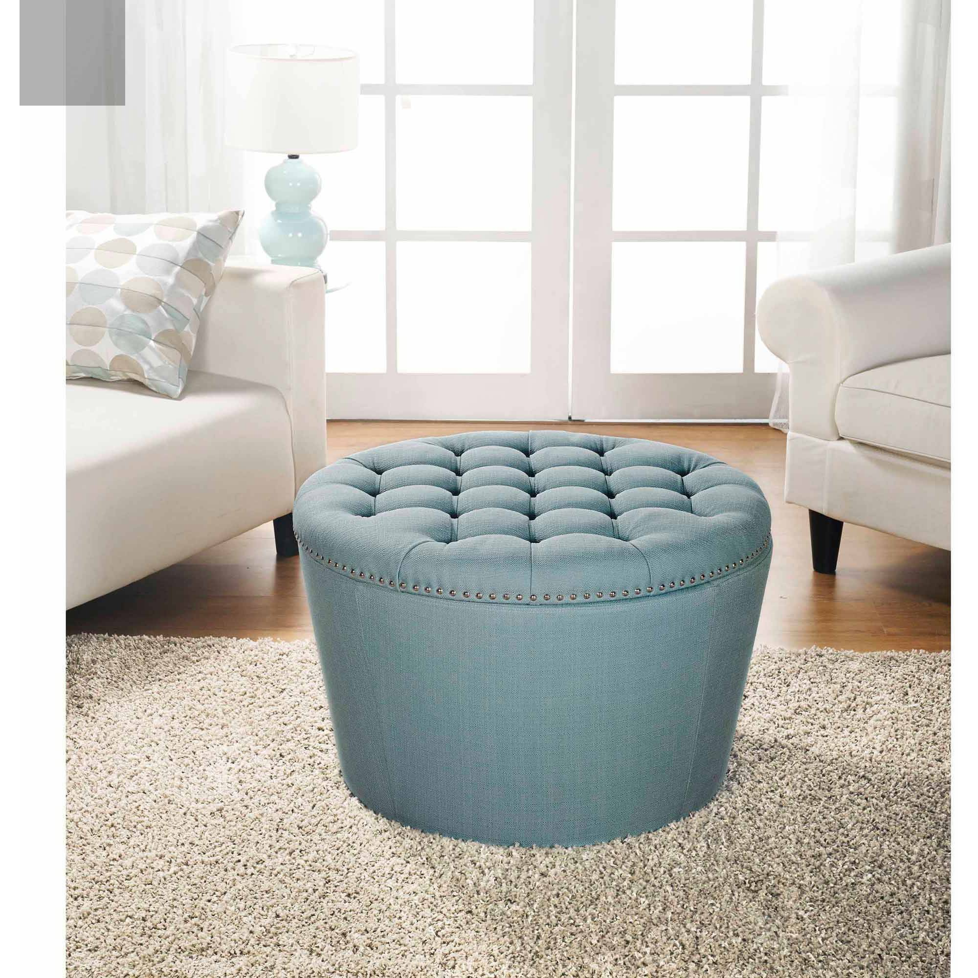 Coffee Table Ottoman | Round Storage Ottoman | Cheap Ottomans
