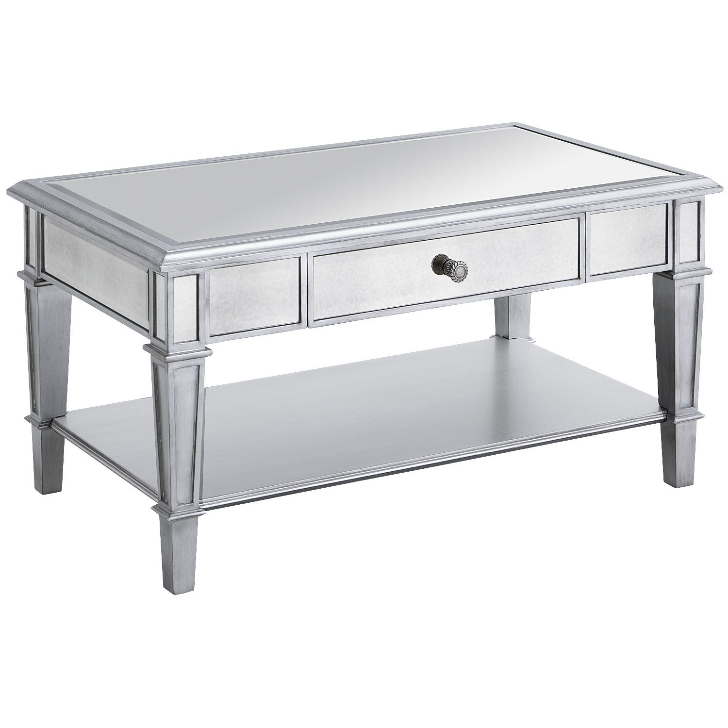 Coffee Table with Shelf | Mirrored Coffee Table | Marble End Tables