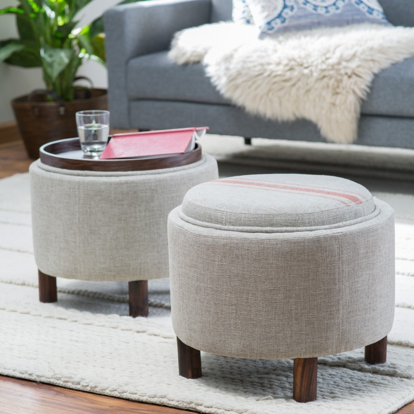 Cushion Ottoman Coffee Table | Round Storage Ottoman | Storage Stool