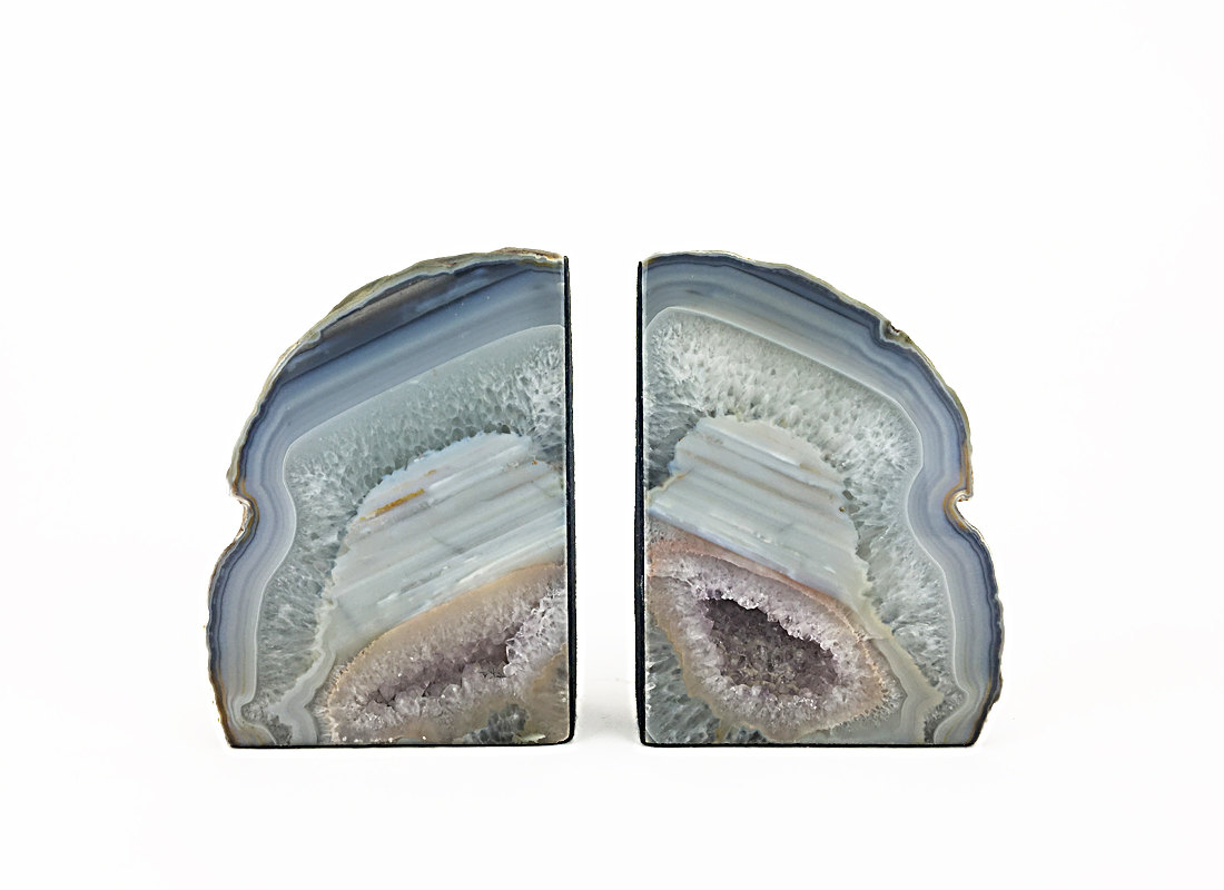 Cute Agate Pottery | Great Geode Bookends