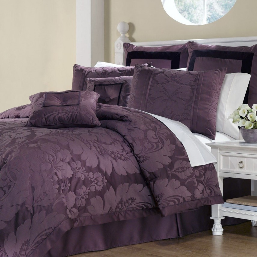 Dark Purple Comforter Sets Queen | Purple Comforter Sets | Mizone Katelyn Comforter Set Purple