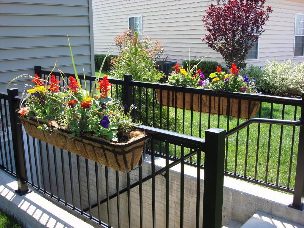 Decor Stylish Deck Rail Planters For Outdoor Decoration
