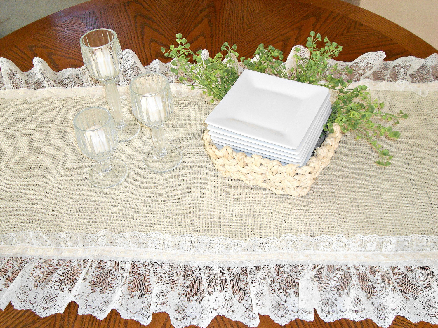 Dining Table Runners | Lace Burlap Table Runner | Lace Table Runners