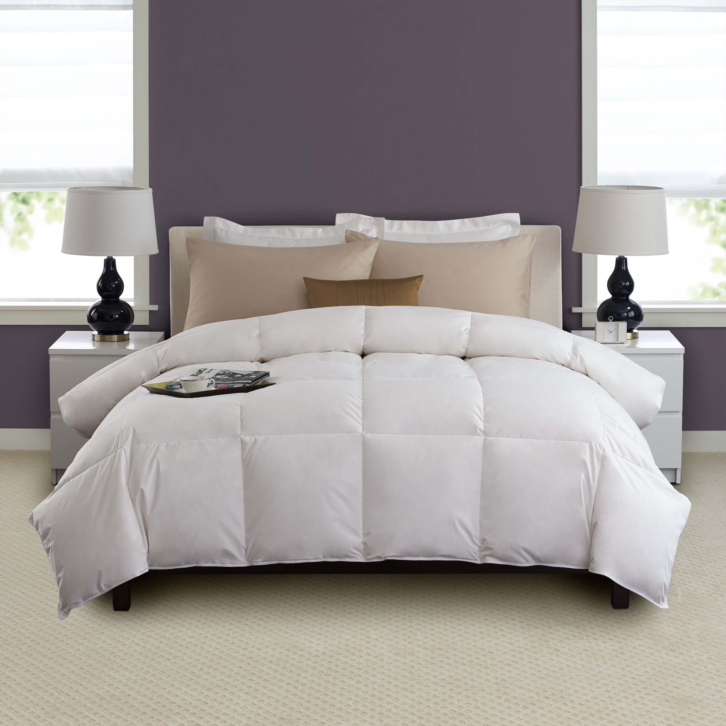 geneva fashion down pinch pin comforter home pleat taupe ella com amazon queen set piece