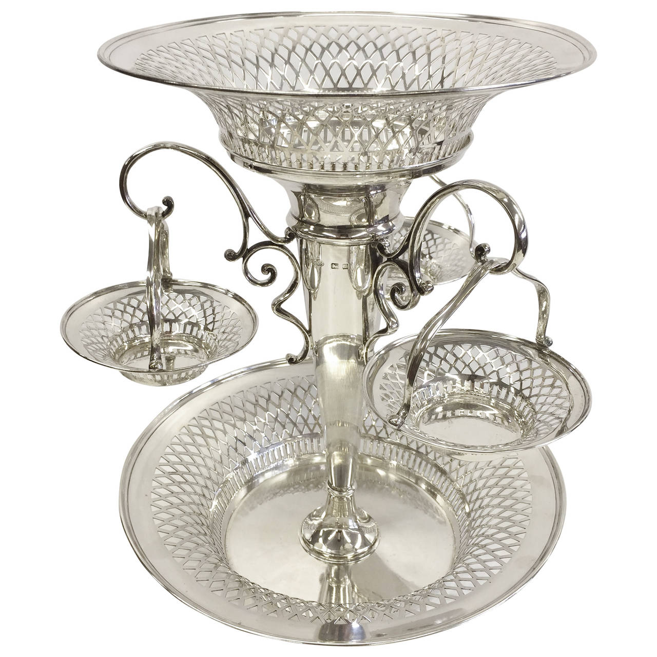 Using Antique Epergne for Dining Table Accessories Ideas: Entrancing Epergne | Redoubtable Fenton Epergne