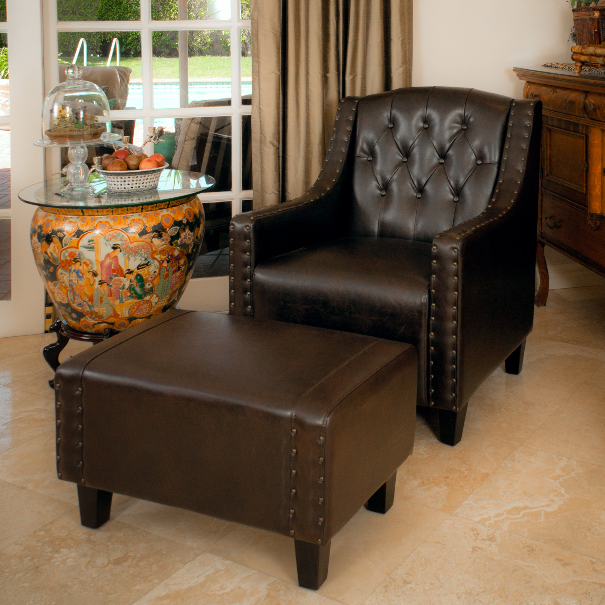 Ethan Allen Chairs | Comfy Armchair | Leather Chair And Ottoman