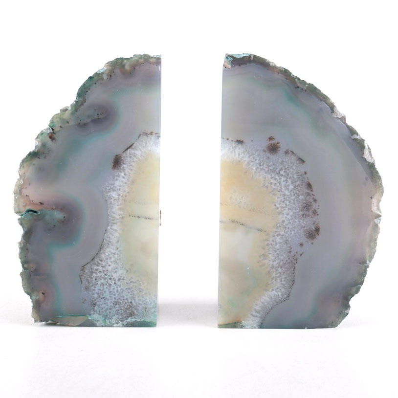 Extraordinary Geode Bookends | Terrific Blue Agate Bookends