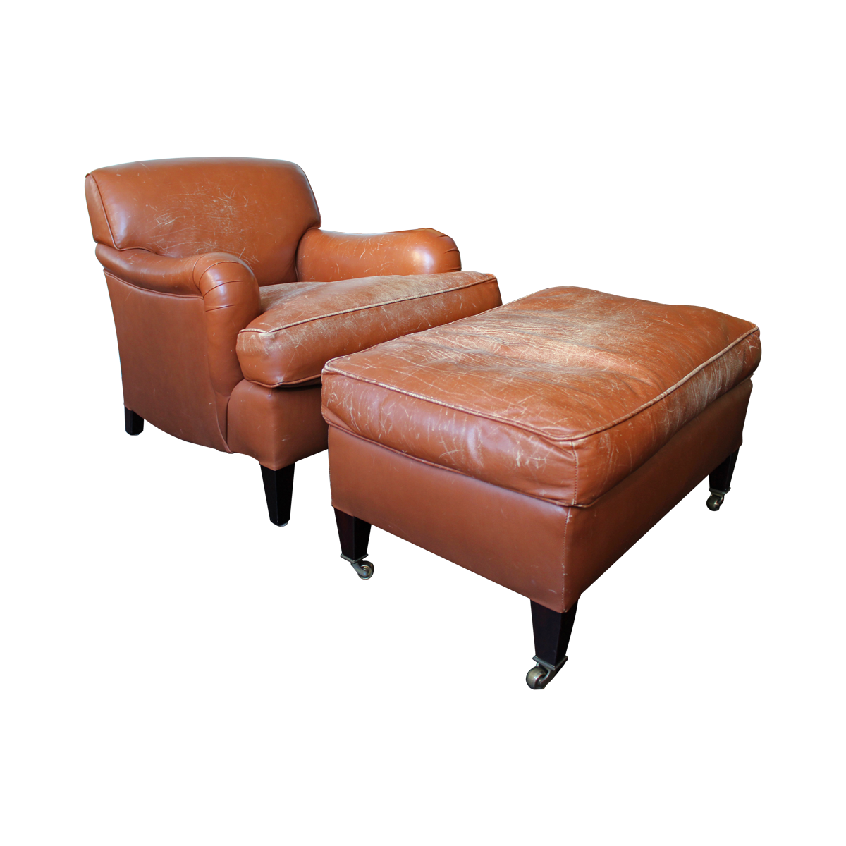 Faux Leather Chair and Ottoman | Leather Chair and Ottoman | Oversized Chaise