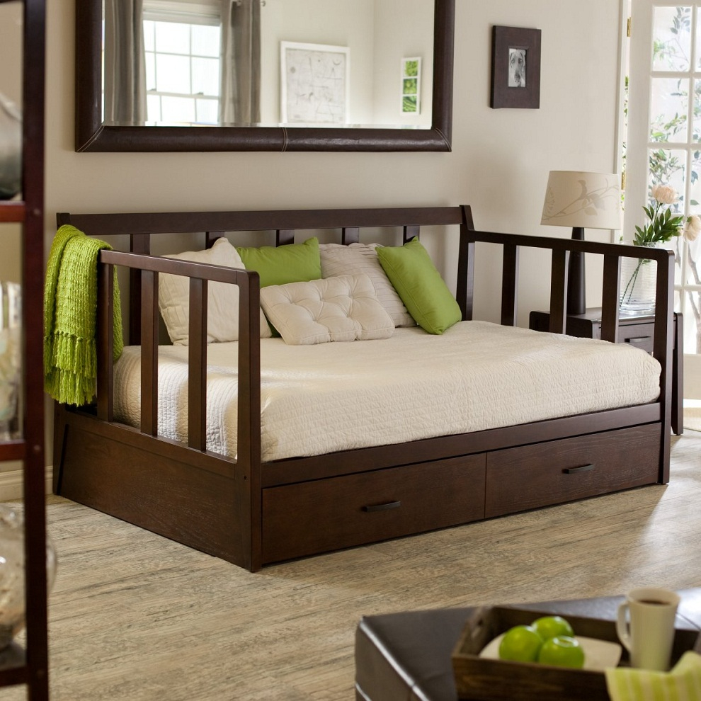 Full Size Daybed with Trundle | Wood Daybed | Day Bed Frame