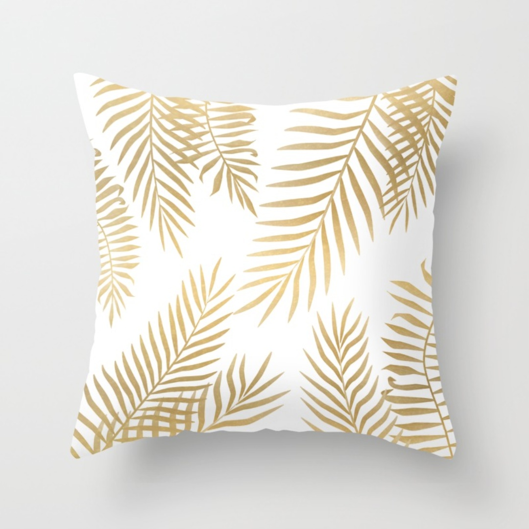 Gold Throw Pillows | Beaded Pillows | Decorative Pillows for Bed