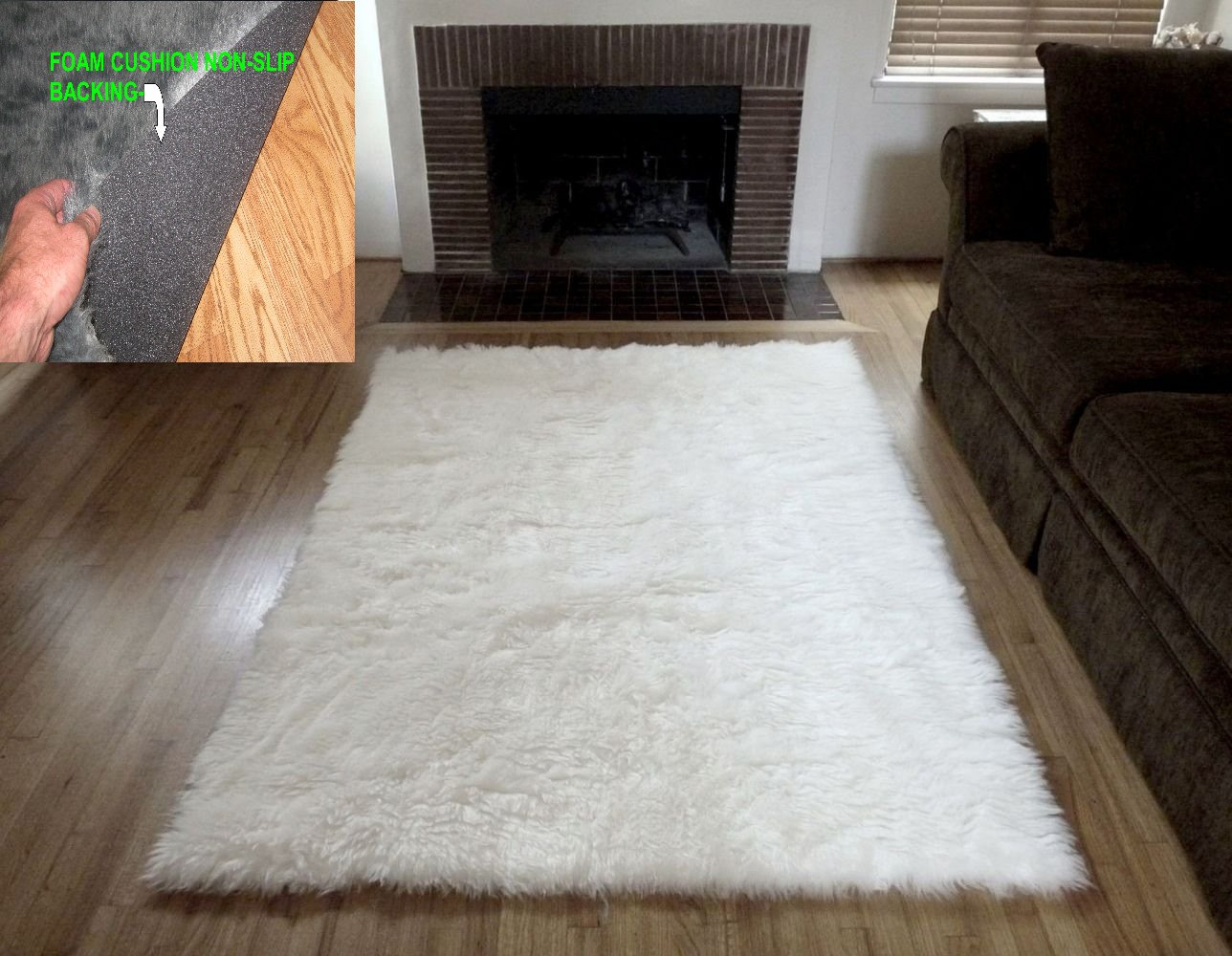 Gray Faux Fur Rug | Fur Rug | Furry Area Rugs