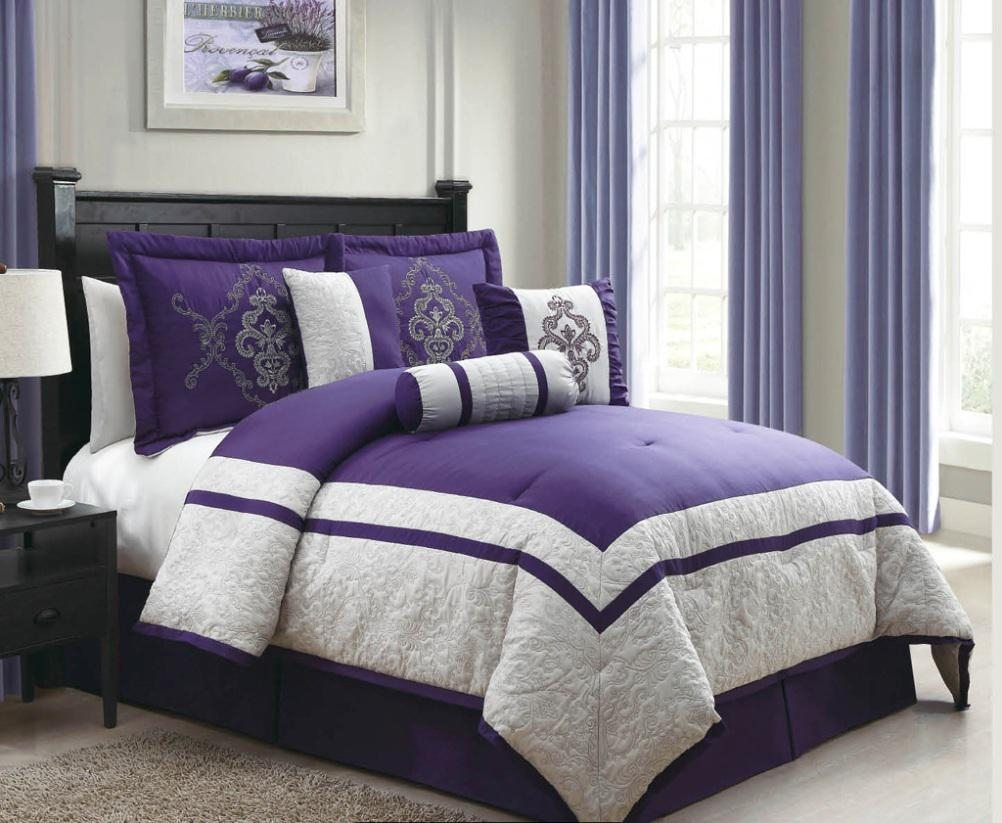 Bedroom Elegant Purple Comforter Sets For Bedroom