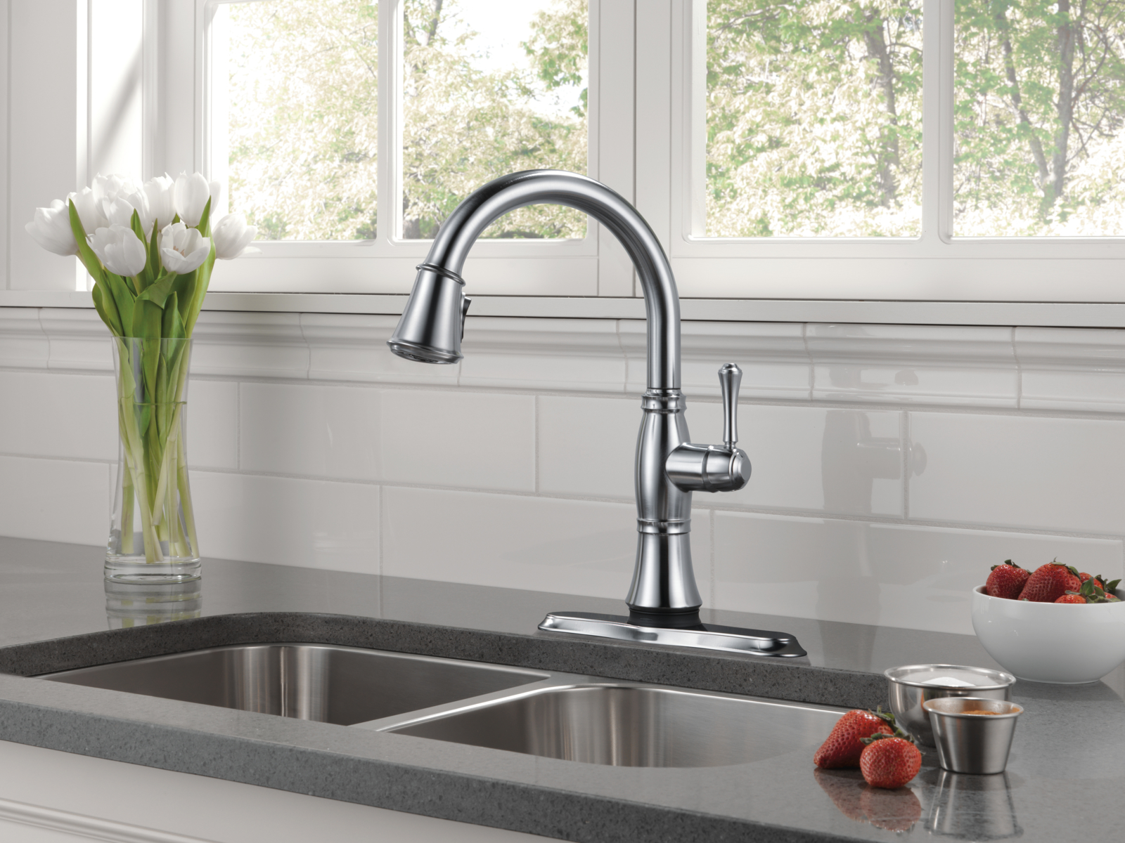 Bathroom: Elegant Design Of Delta Cassidy Faucet For Pretty Kitchen ...