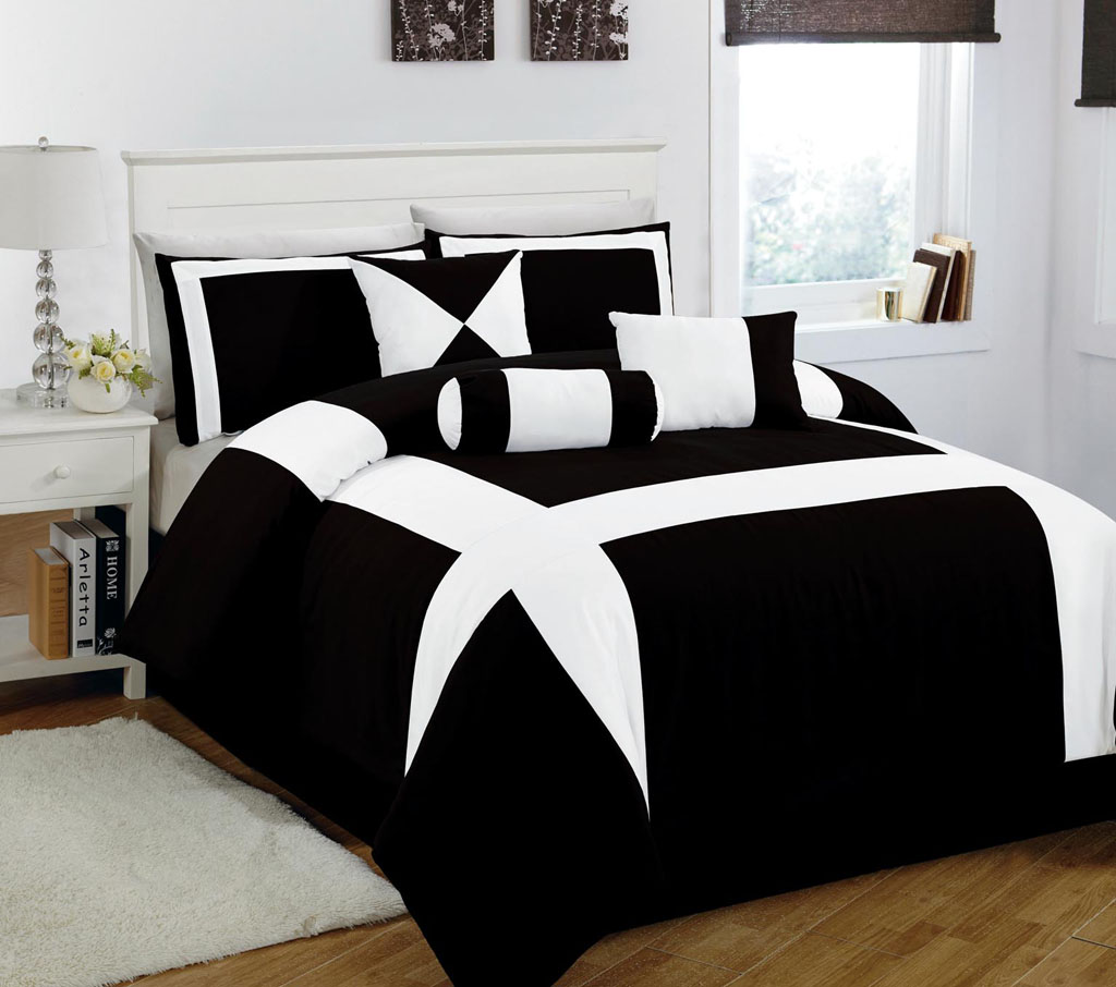 Black and white bedding walmart - King Size Comforter Set Queen Bedding Sets White Queen Bed Set Modern Comforter Sets Belmore