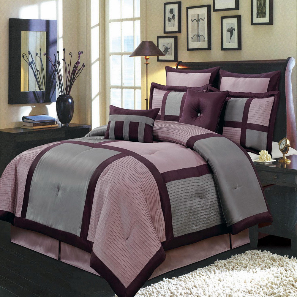 Bedroom Elegant Purple Comforter Sets For Bedroom Decoration Ideas