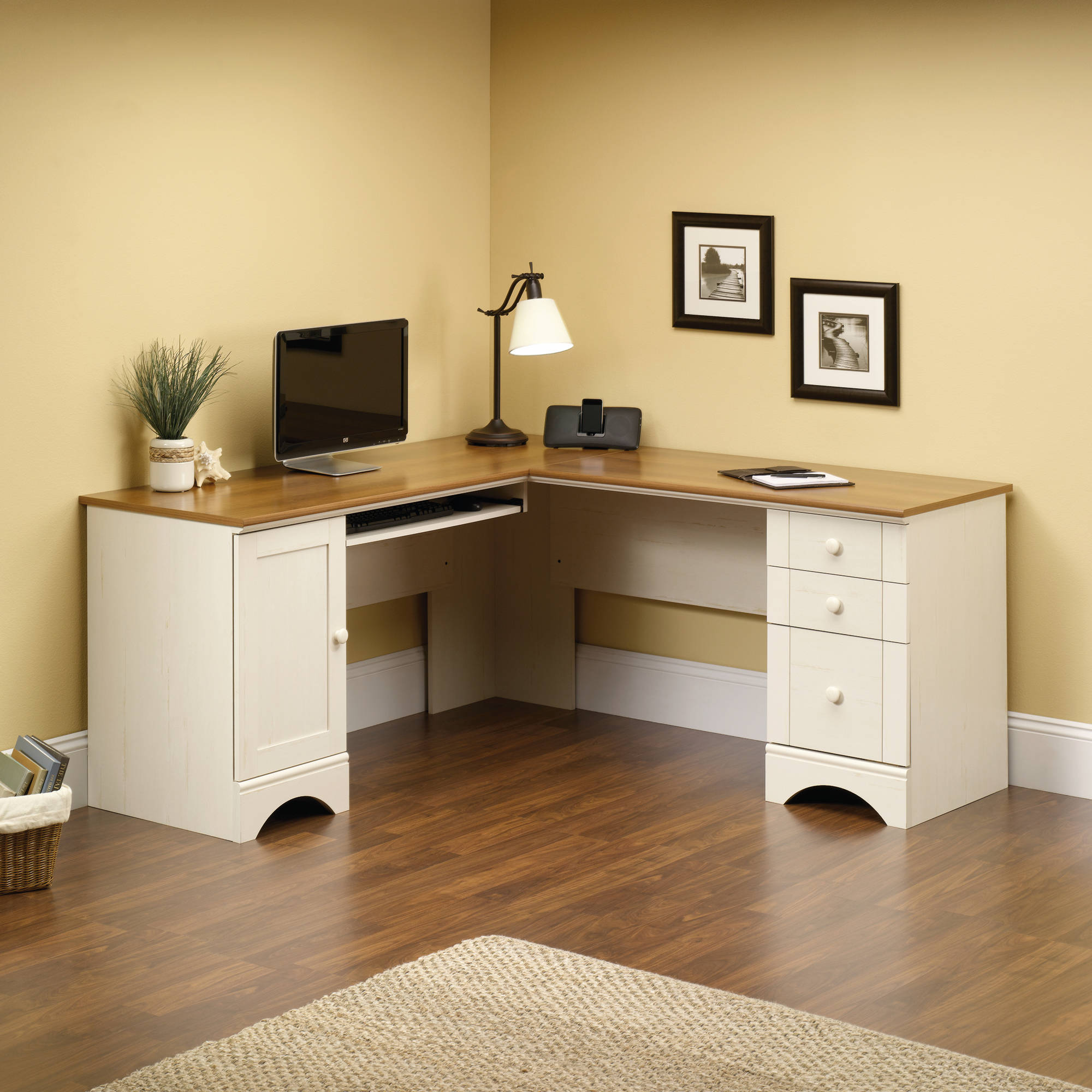 L Shaped Office Desk with Hutch | Sauder Computer Desks | Sauder Orchard Hills Computer Desk with Hutch Carolina Oak