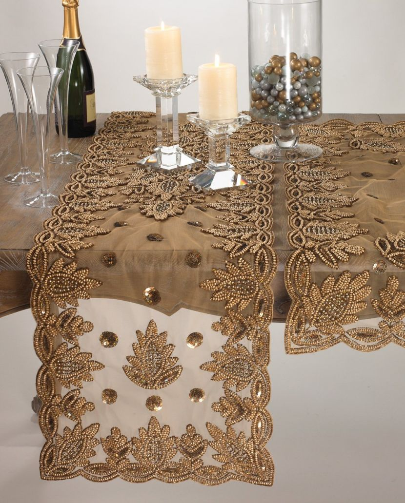 Lace Table Runners | Linen Table Runners | Grey Table Runner