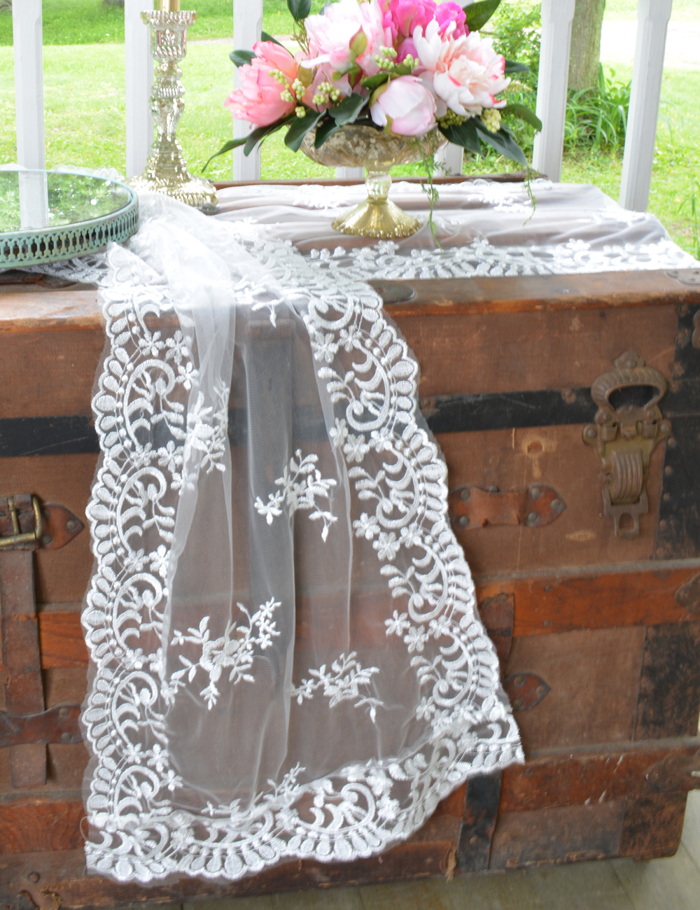 Lace Table Runners | Spring Table Runner | Mint Table Runner