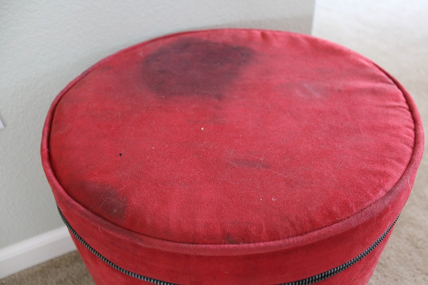 Large Round Ottoman With Storage | Ottoman With Shelf Underneath | Round Storage Ottoman