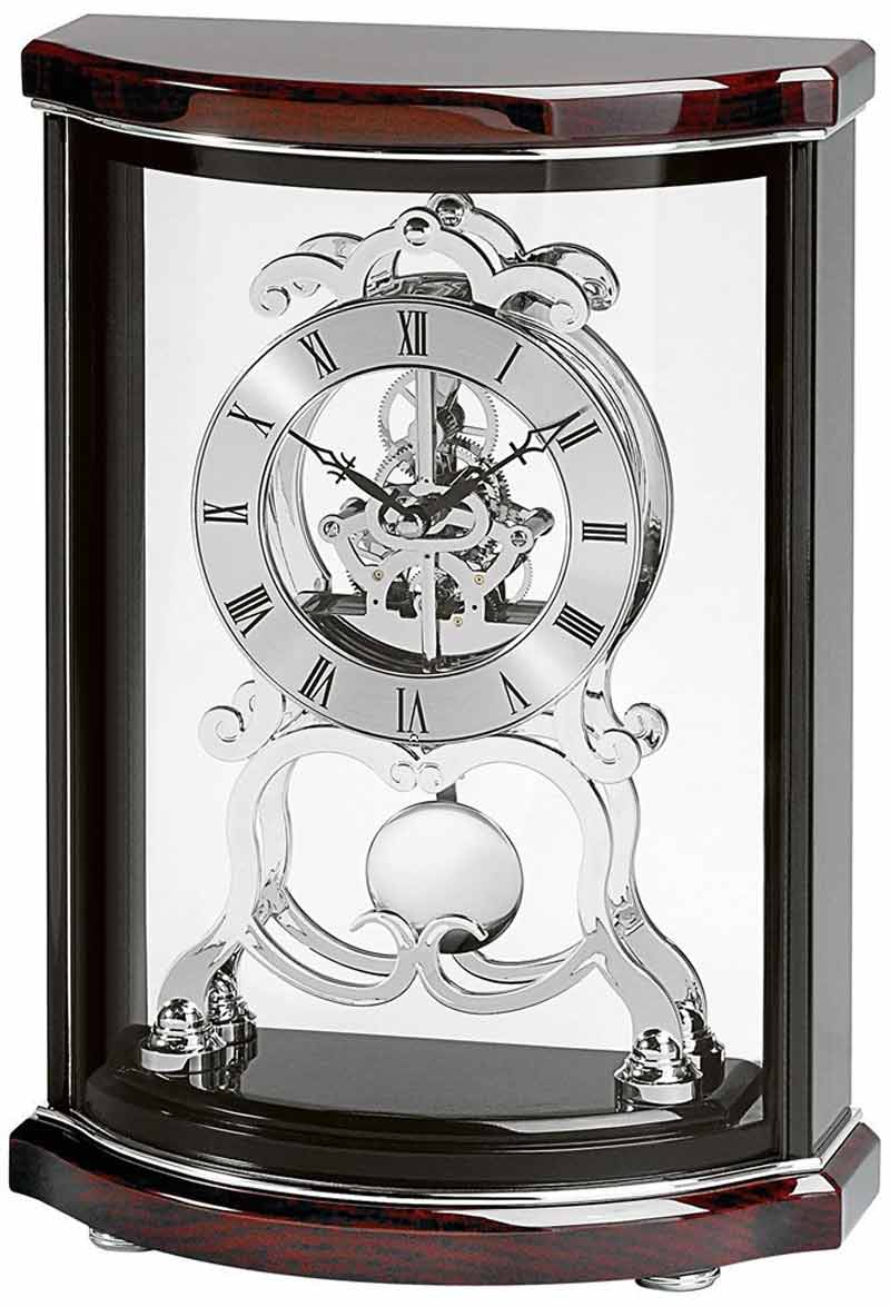 Large Silver Mantel Clock | Bulova Antique Clock | Bulova Mantel Clock