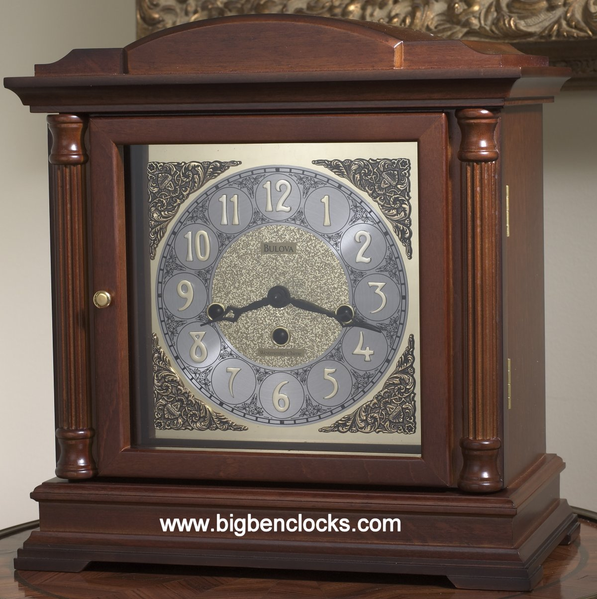 Large Silver Mantel Clock | Wood Mantel Clock | Bulova Mantel Clock