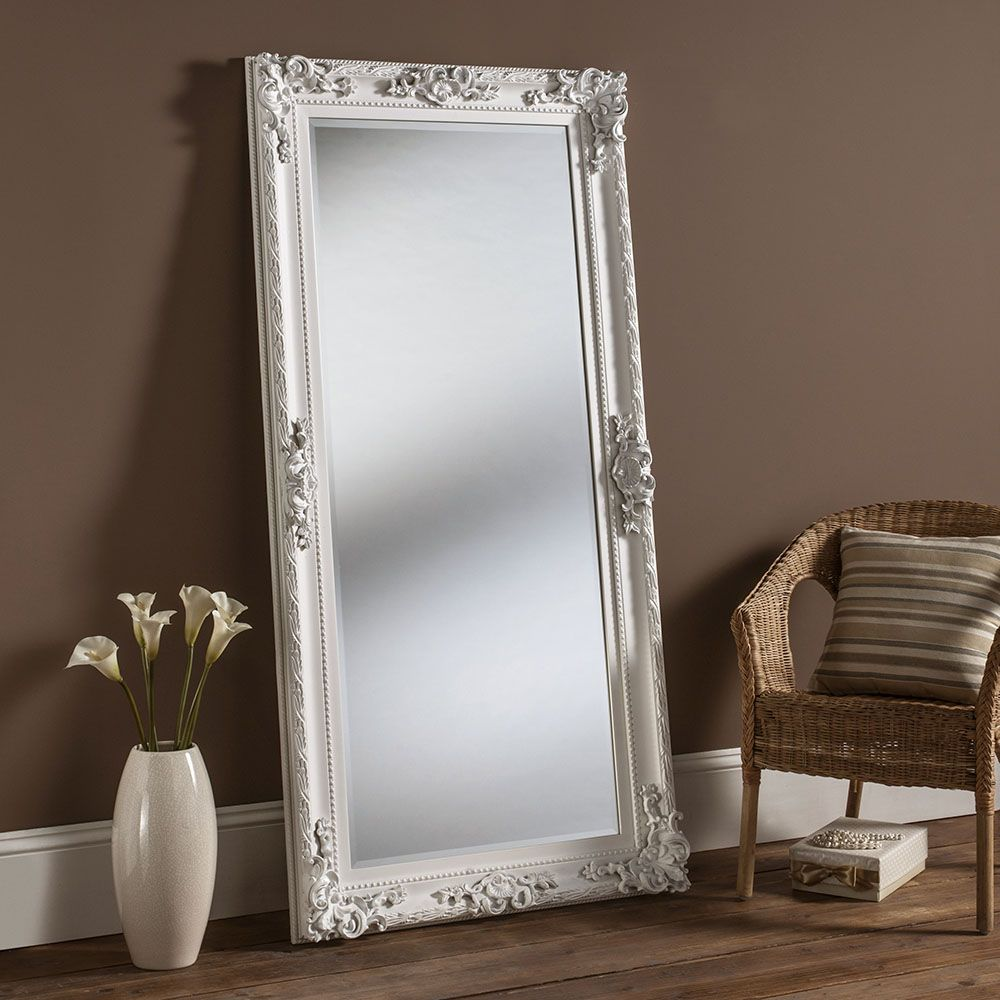 Oversized mirror oversized mirror in a wooden frame and a for Full length mirror in living room