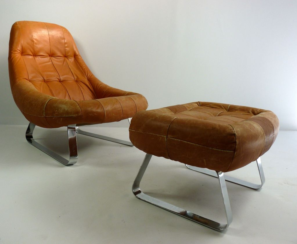 Leather Chair And Ottoman Club