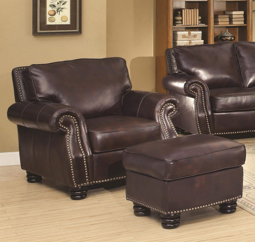 Leather Chair And Ottoman | Comfy Oversized Chair | Swivel Club Chairs