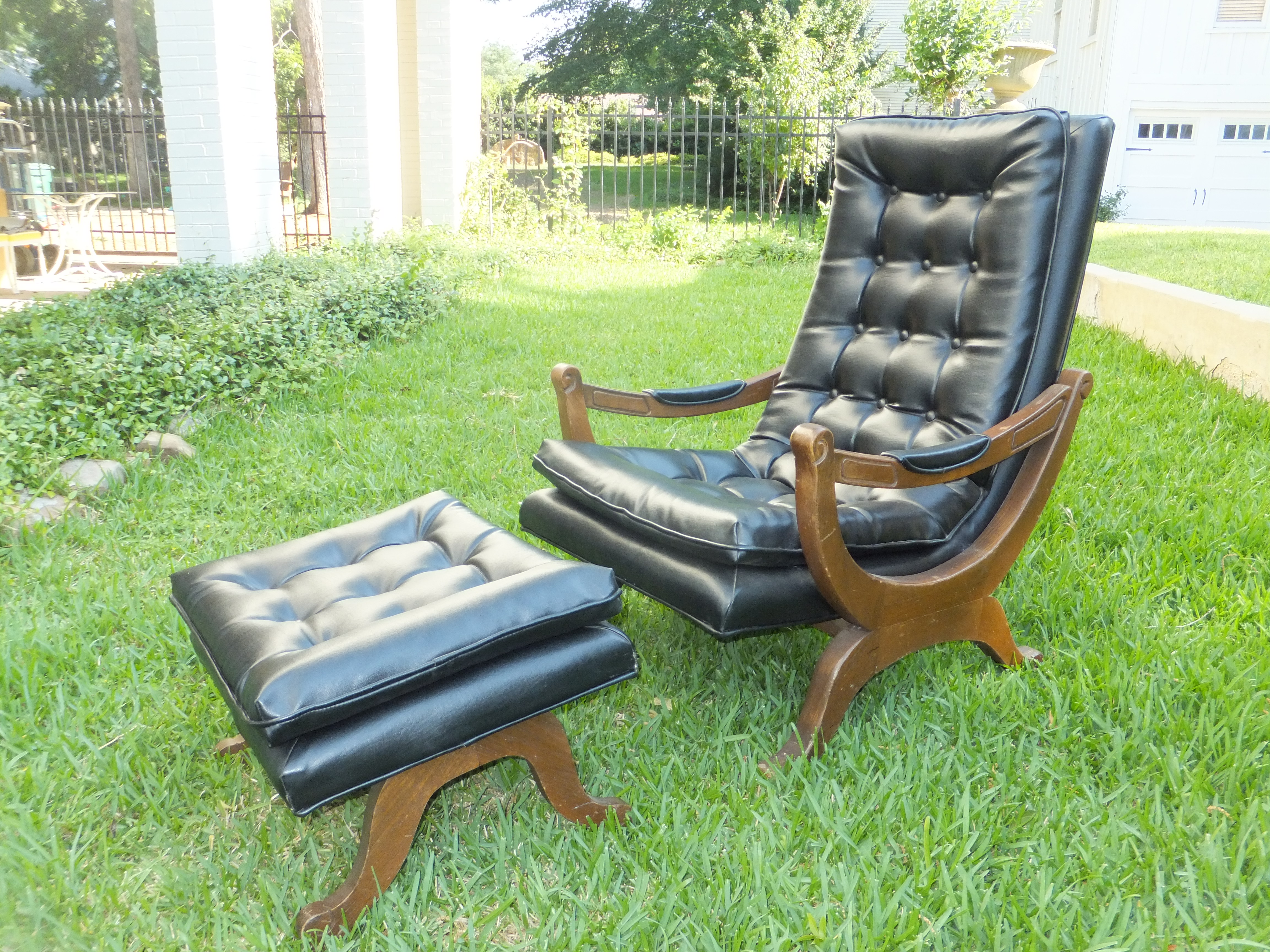 furniture: leather chair and ottoman | oversized leather chair and