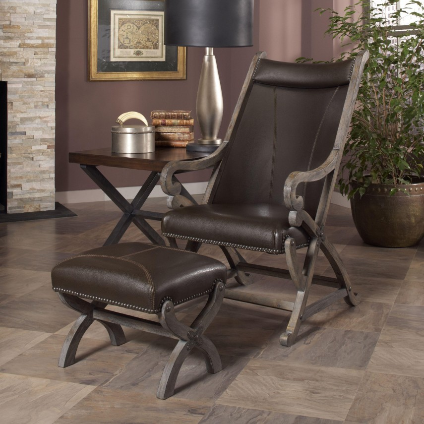 Leather Chair And Ottoman | Oversized Leather Chair And Ottoman | Patterned Living Room Chairs