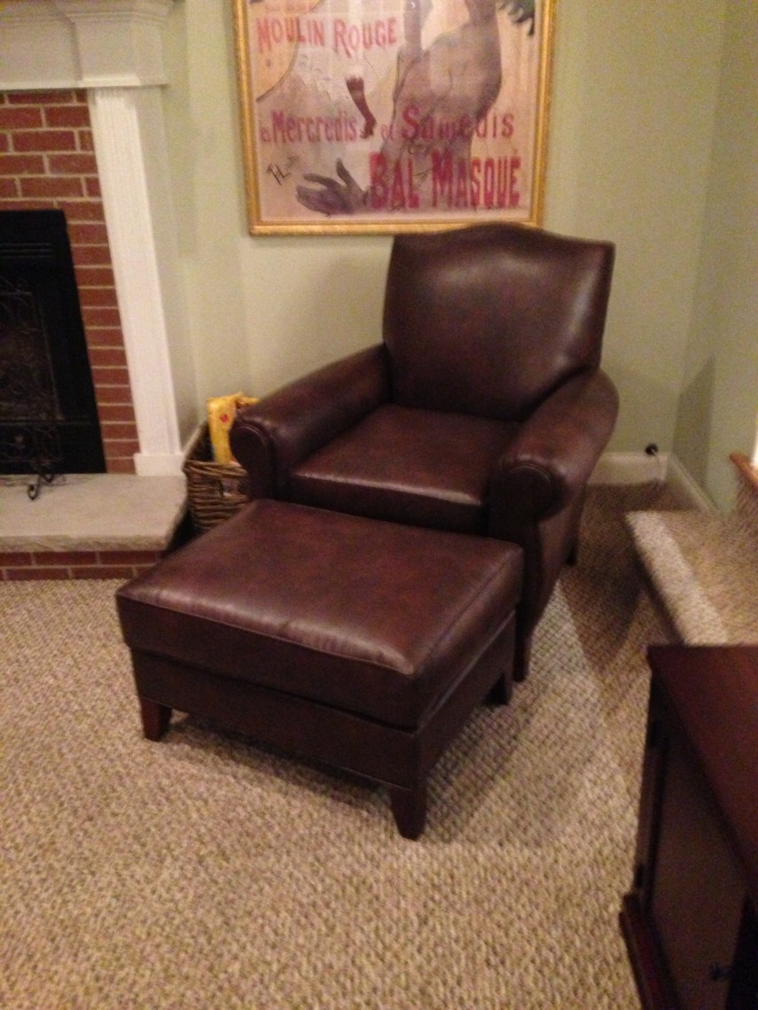 Leather Chair And Ottoman | Pottery Barn Ottoman | Brown Leather Chair And Ottoman