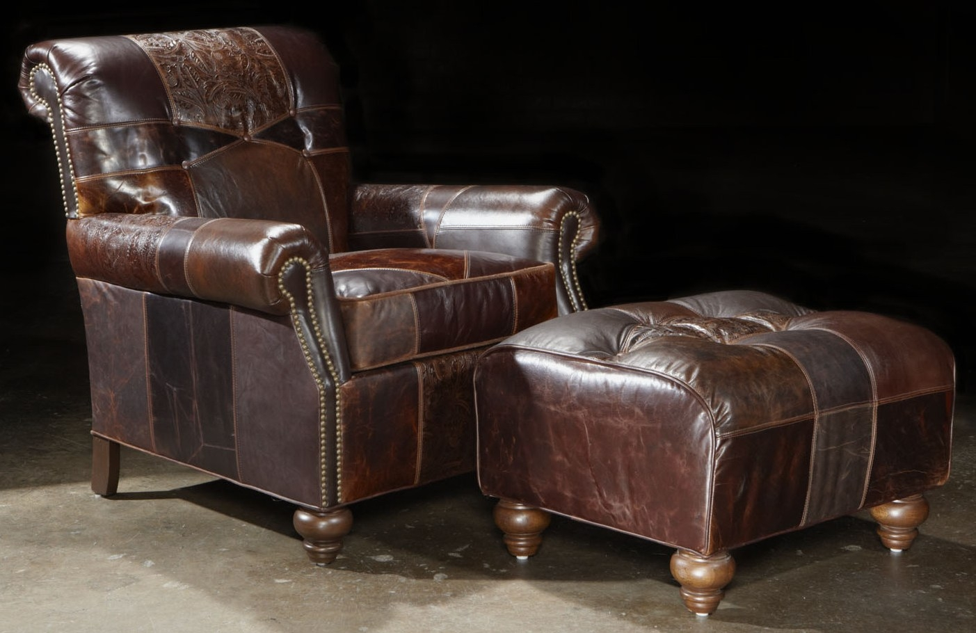 Furniture: Alluring Leather Chair And Ottoman For Cozy