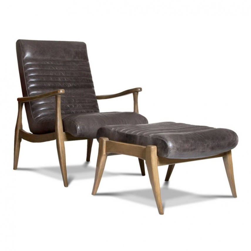 Leather Club Chair And Ottoman   Upholstered Accent Chairs   Leather Chair And Ottoman