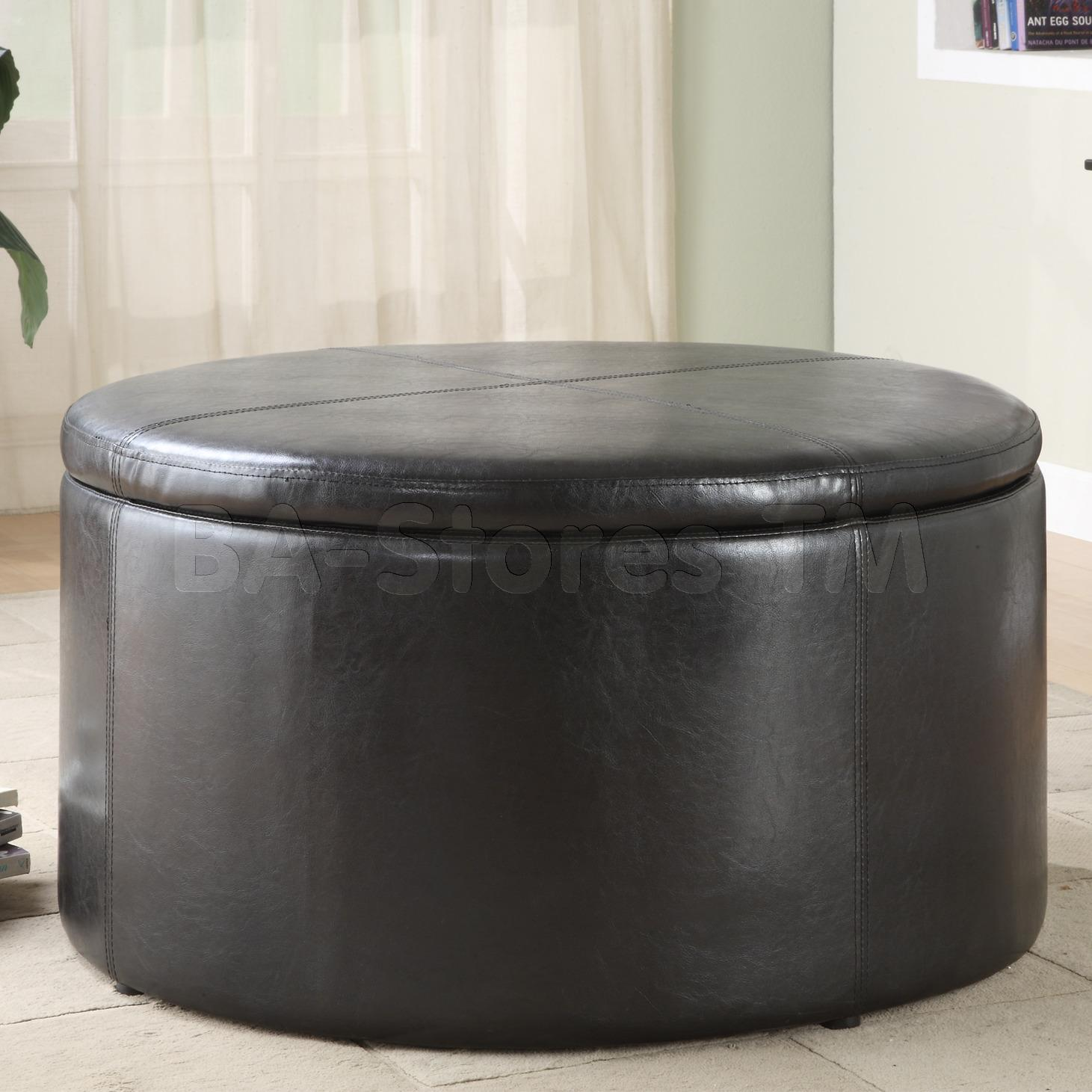 Leather Pouf Ottoman | Padded Coffee Table | Round Storage Ottoman