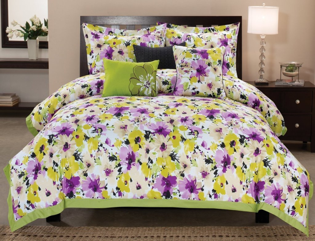 Light Purple Comforter Set | Purple Comforter Sets | Purple Rose Comforter Set