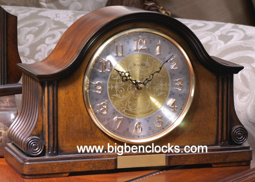 Linden Mantle Clock | Bulova Mantel Clock | Wood Mantel Clock