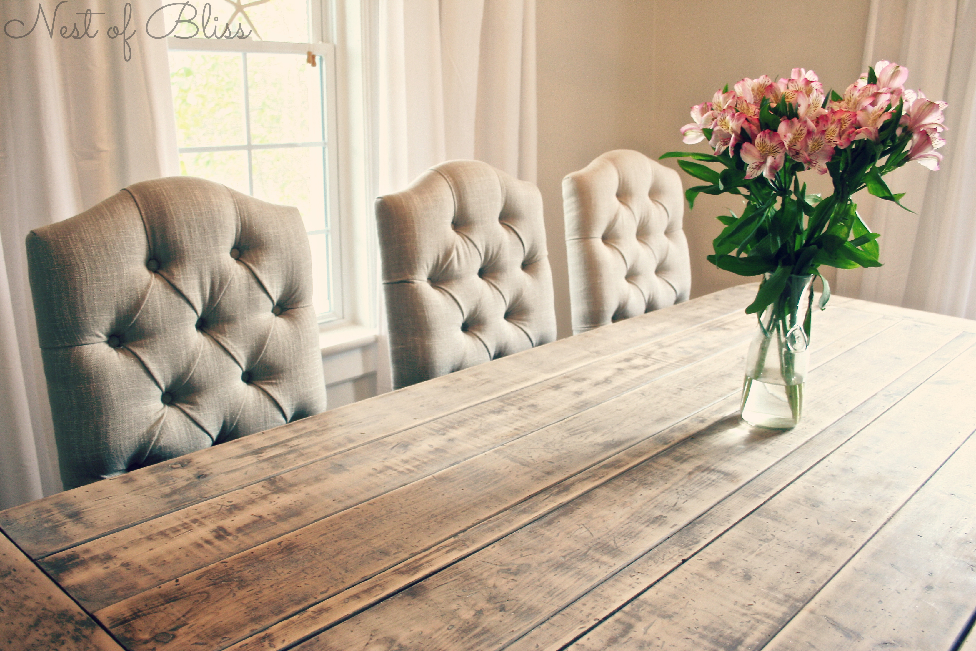 Linen Tufted Dining Chairs