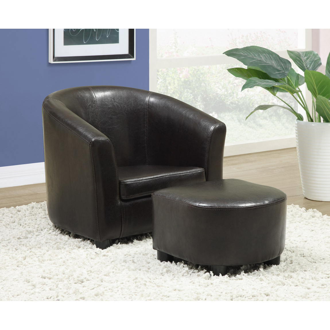 furniture: alluring leather chair and ottoman for cozy home