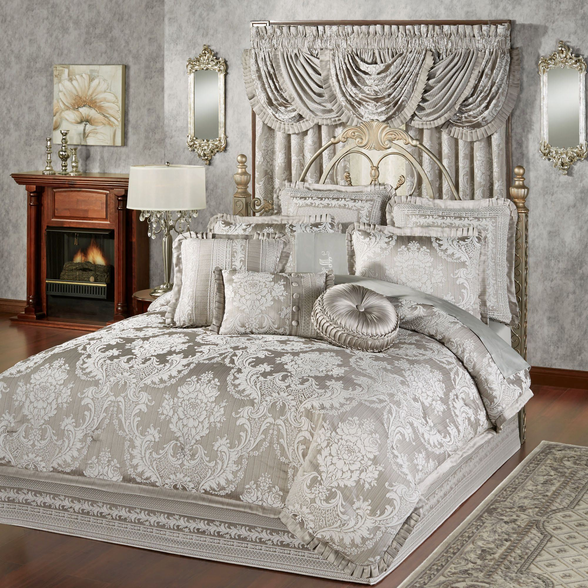 Luxury Comforter Sets | Ruffle Bedspread | Grey Ruffle Bedding
