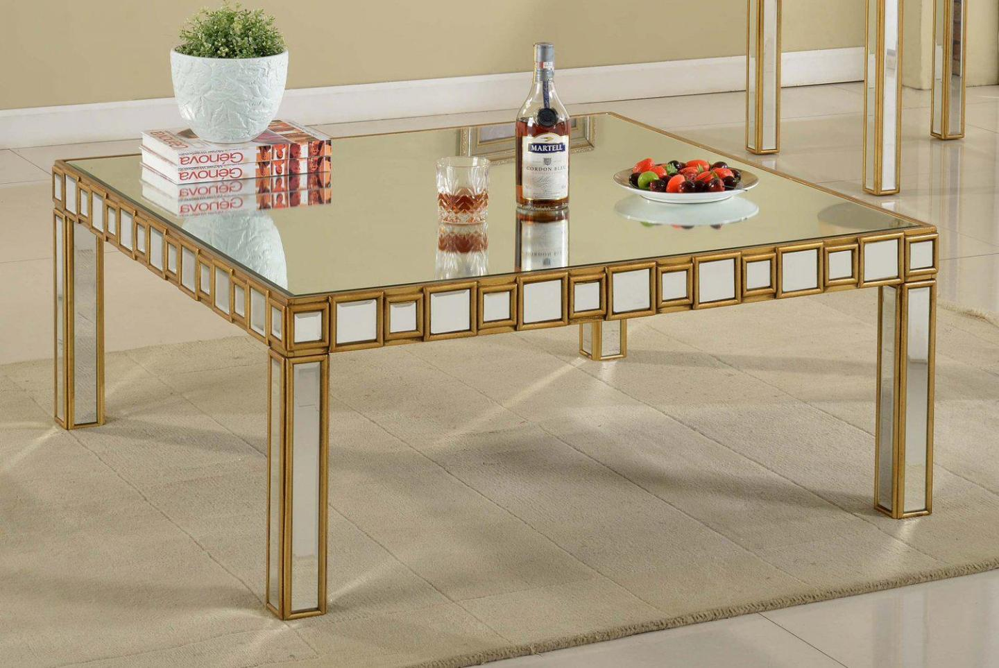 Mirrored Coffee Table | Brass and Glass Coffee Table | Square Acrylic Coffee Table
